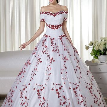 2017 Real White And Red Ball Gown Colorful Wedding Dresses Off the Shoulder Embroidery Corset Back N