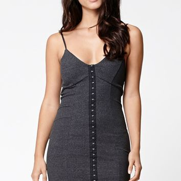 LA Hearts Ribbed Placket Bodycon Dress - Womens Dress - Black