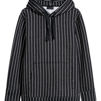 Striped Hooded Sweatshirt - from H&M