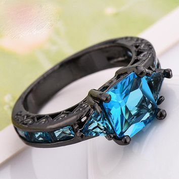 Elegant Black Gold Filled CZ Ring Unique Design Vintage Party Wedding blue Zircon Rings For Women Gifts Fashion Jewelry