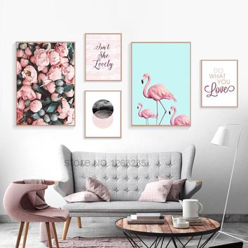 Nordic Poster Rose Flowers Posters And Prints Flamingo Wall Art Canvas Painting Quadro Wall Pictures For Living Room Unframed