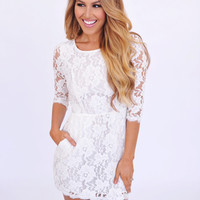 3/4th Sleeve Lace Open Back Dress- Off White