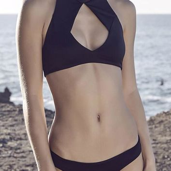 Black Mesh Insert Cut Out Halter Bikini Set