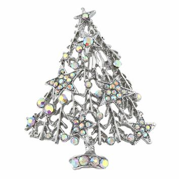 Bella Fashion Clear AB Christmas Tree Rhinestone Brooch Pins Austrian Crystal Brooch For Women Christmas Party Jewelry Gift