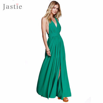 Grecian-inspired Pleating and Exposed Half-Slip Maxi Dress Deep V-Neck Straps Backless Cross Sexy Dresses Boho Beach Vestidos