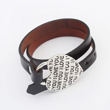 Leather Bangle Bracelet Double Layer with Inspirational Metal Heart Charm Love Silver Quote Message Stylish Jewelry for Women