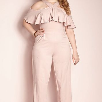 """Rebdolls """"The Things You Do"""" Ruffled Jumpsuit - Blush – REBDOLLS"""