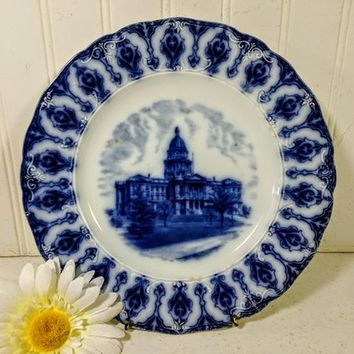 "Flow Blue Dinner Plate Colorado State Capitol Building Portrait Wheelock England Fine Porcelain Souvenir Memorabilia Decorative 10 "" Plate"