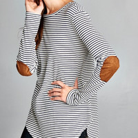 Elbow Patches Striped Jersey Tunic Top - Navy/White