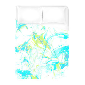 Pale Marble in Blue Duvet Cover