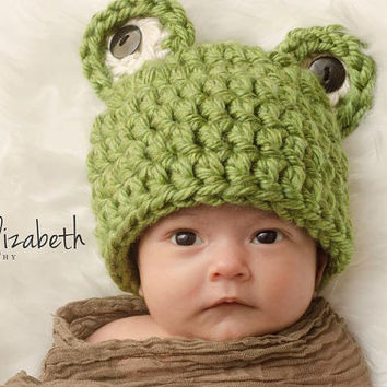 Frog beanie - crochet - made to order - newborn to 1 year old