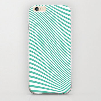 Wave Psychedelic Mint Green Color iPhone 6 Case Unique Pattern with Zig Zag and Chevron Style Lines Print Apple iPhone 6 Covers or Protector
