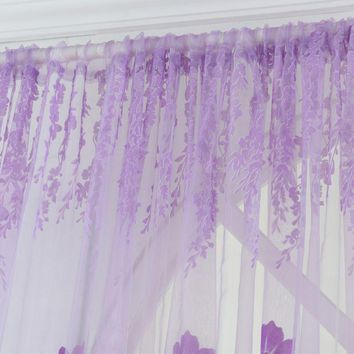 2018 New Window Curtains 1M*2M Sheer Voile Tulle for Bedroom Living Room Balcony Printed Tulip Pattern Sun-shading Curtain