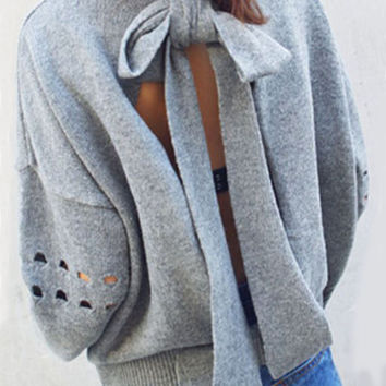 Grey Cutout Bow Back Long Sleeve Sweater