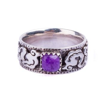 Cloud ring with rare South African Purple Sugilite