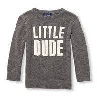Toddler Boys Long Sleeve Intarsia-Knit Graphic Sweater | The Children's Place