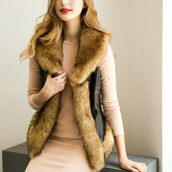 New Women Fashion Furry Vest Casual Faux Fur Coat Ladies Pu Leather Jackets Party Female Fur Lapel Collar Sleeveless Waistcoat