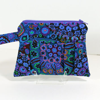 Small Wristlet Purse Kaffe Fassett Millefiore Blue Fabric Travel Purse Accessory Pouch