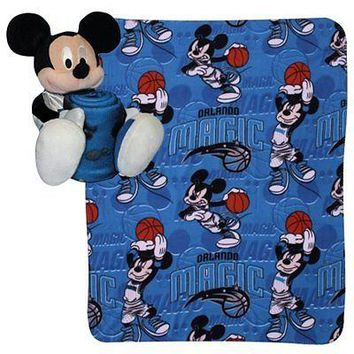 "ORLANDO MAGIC 40""X50"" DISNEY MICKEY MOUSE HUGGER PILLOW & THROW BLANKET SET NEW"