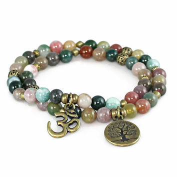 Tree of Life Om Symbol Stretch Wrap Gemstone Bracelet