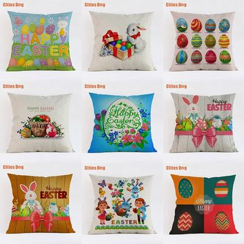 decorative pillows cushion new 2018 Year gift Cute colorful happy easter egg bunny Linen 35x35 45x45 55x55cm Pillowcase almofada