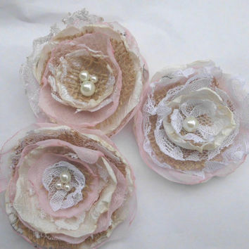 Wedding Decorations Fabric Flowers Set Of 3 Burlap Lace And Chiffon With Pearl Centers Neutrals