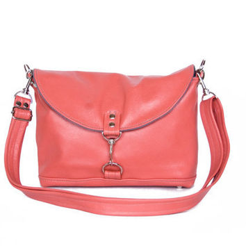 Clutch in Sea Coral Pink Leather - LAST ONE - Ready to Ship