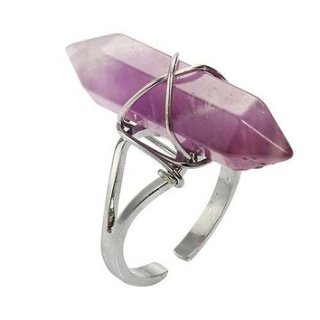 Healing Chakra Synthetic Crystal Stone Hexagonal Wire Wrap Opening Finger Ring