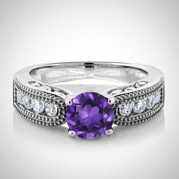 Natural Purple Amethyst Wedding Band