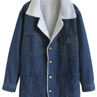 Blue Woolen Lapel Pocket Detail Denim Coat - Choies.com