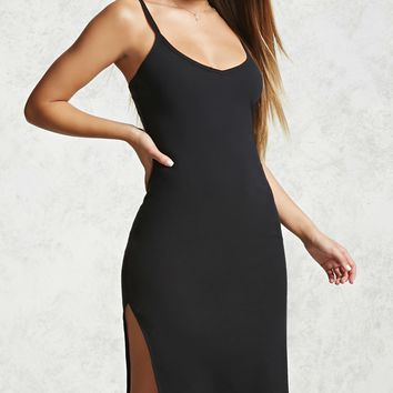 Ribbed Cami Slit Dress