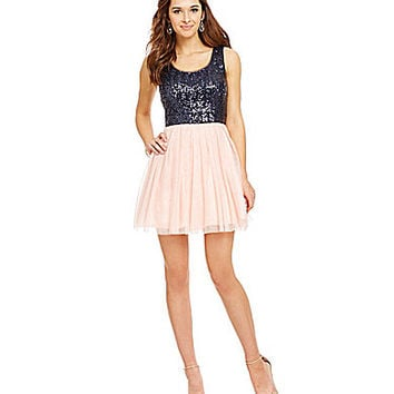 B. Darlin Sequin Tie Back Party Dress - Blush/Navy