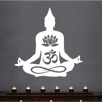 Wall Decal Vinyl Sticker Decals Art Decor Design Buddha Statue Indian Yoga Om Bamboo Prayer God Kharma Chakras Style Dorm Bedroom (r444)