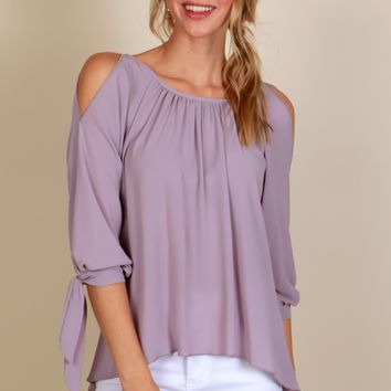 Playful Romance Tie Blouse Dove Grey