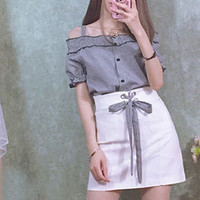 White short skirt with black check corset lace tie