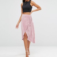 ASOS Tall | ASOS TALL Wrap Midi Skirt In Velvet at ASOS