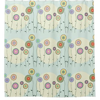 Whimsical Circle Flowers Shower Curtain