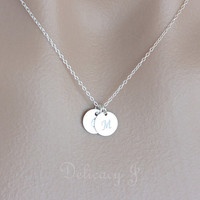 Personalized TWO Initial Charm Necklace, Monogram Initial Necklace in Sterling Silver, Friendship Sister Family Couple Necklace, Christmas