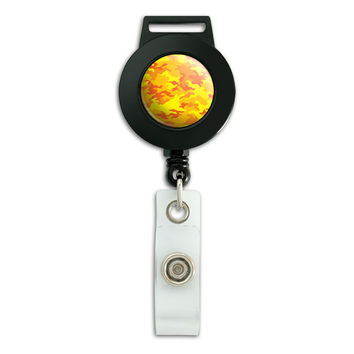 Camouflage Print Yellow Retractable Badge Card ID Holder