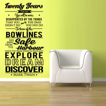 rvz1138 Wall Vinyl Sticker Words Sign Quote Mark Twain Discover Dream