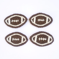 American Football Applique, Crocheted Applique From Cotton Yarn- Crochet Supplies For Clothing, Hair Clips, Handbags 4pcs