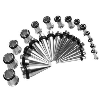 BodyJ4You 28PC Gauges Kit Ear Stretching 12G-0G Surgical Steel Tunnel Plugs Tapers Piecing Set