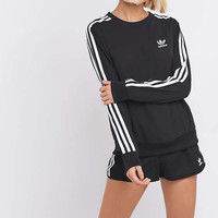 adidas Originals 3-Stripe Long Sleeve Black Jumper - Urban Outfitters