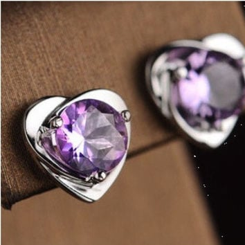 2 pairs/set(white/purple) 925 Sterling Silver Jewelry Purple Crystal Heart Rhinestone Stud Earrings for Women Accessories = 1669449348