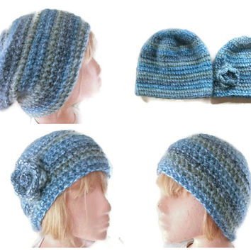 PATTERN/TUTORIAL for Crocheted Slouchy & Beanie Hat. Men, Women, Accessories, Winter warmers.  PDF file. Download, Tutorial with Pictures.