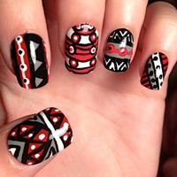 Grey and Red Aztec/Tribal Fake Nails