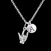 Choose Initial Sign Language I Love You Hand Symbol Gift Charm Necklace