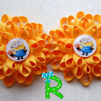 Set of minions Loopy flower Hair Bows , mimion Bob stacked bows , yellow boutique hair bows