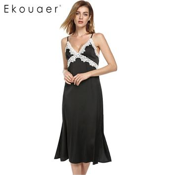 Ekouaer Long Satin Nightgown Women Satin Sexy Lace Sleepwear Non-Cling Full Slip Adjustable Straps Black Nightdress Home Wear