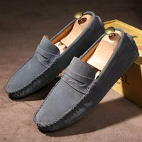 Genuine Leather Men Shoes Casual Driving Shoes Leather Mocassin Soft Breathable Men Flats Brand Shoes Suede Men Loafers